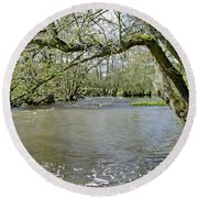 Tree-lined - Swollen River Dove At Thorpe Round Beach Towel