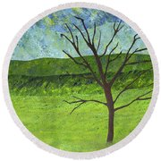 Tree No Leaves Round Beach Towel
