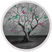 Tree Of Butterflies  Round Beach Towel