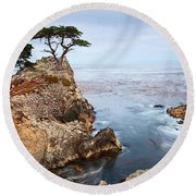 Tree Of Dreams - Lone Cypress Tree At Pebble Beach In Monterey California Round Beach Towel