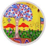 Tree Of Freedom And Glory Round Beach Towel