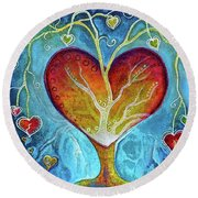 Tree Of Hearts Round Beach Towel