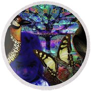 Tree Of Life  A W A K E N I N G Round Beach Towel by Joseph Mosley