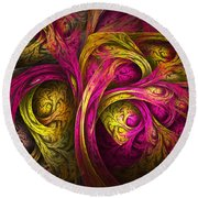 Tree Of Life In Pink And Yellow Round Beach Towel