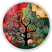 Tree Of Life Round Beach Towel by Jaison Cianelli
