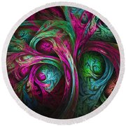 Tree Of Life-pink And Blue Round Beach Towel