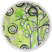 Tree Of Life Spring Abstract Tree Painting  Round Beach Towel