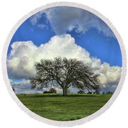Tree Of Life Style Oak Tree And Coluds Round Beach Towel