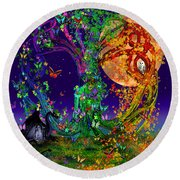 Tree Of Life With Owl And Dragon Round Beach Towel