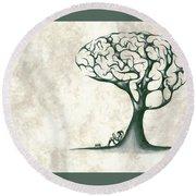 Tree Of Lknowledge Round Beach Towel