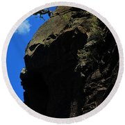 Tree On A Cliff At Battleship Rock New Mexico - 003 Round Beach Towel