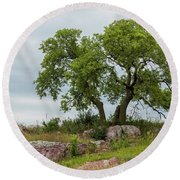 Tree On A Hill 2 Round Beach Towel