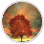 Tree On Fire Round Beach Towel
