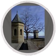 Tree On The Castle Wall Round Beach Towel