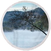 Tree Over Gasconade River Round Beach Towel