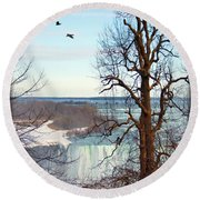 Tree Overlooking The Falls Round Beach Towel