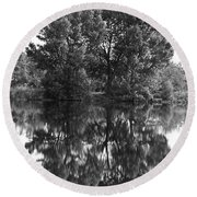 Tree Reflection In Black And White Round Beach Towel