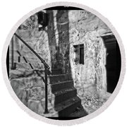 Tree Shadow , Doors And Stairs At The Elder Battery At Fort Delaware Round Beach Towel