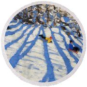 Tree Shadows Morzine Round Beach Towel