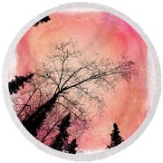 Tree Silhouettes I Round Beach Towel