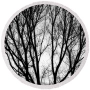 Tree Silhouettes In Black And White Round Beach Towel