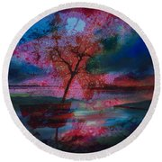Tree Splat Fragmented Round Beach Towel