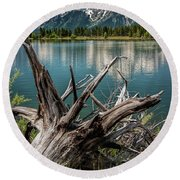 Tree Stump On The Northern Shore Of Jackson Lake At Grand Teton National Park Round Beach Towel