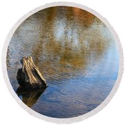 Tree Stump Surrounded By Water Round Beach Towel