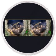 Tree Trunk Portal - 3d Stereo X-view Round Beach Towel