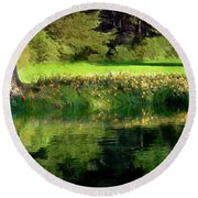 Tree With Lily Reflections Round Beach Towel