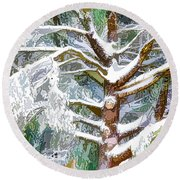 Tree With White Fluffy Snow Round Beach Towel