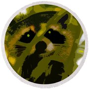 Treed Raccoon Round Beach Towel