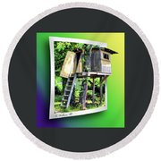 Treehouse Fort Round Beach Towel