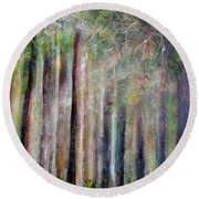 Trees 2 Round Beach Towel