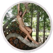 Trees 347 Round Beach Towel