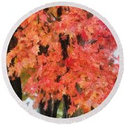 Trees Aflame Round Beach Towel