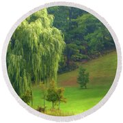 Trees Along Hill Round Beach Towel