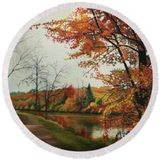 Trees Along The Canal Round Beach Towel