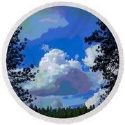 Trees And A Cloud For Crying Out Loud Round Beach Towel