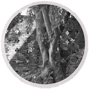 Trees And Brick Crosses Round Beach Towel