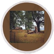 Trees And Cabin Round Beach Towel