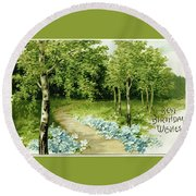 Trees And Flowers Country Scene Round Beach Towel