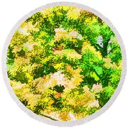 Trees And Leaves 1 Round Beach Towel