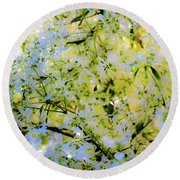 Trees And Leaves Round Beach Towel