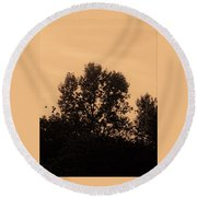 Trees And Geese In Sepia Tone Round Beach Towel