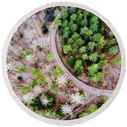Trees And Path From Above Drone Photography Round Beach Towel