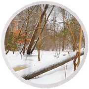 Trees And Snow Round Beach Towel