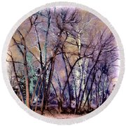 Trees Are Poems That The Earth Writes Upon The Sky Round Beach Towel