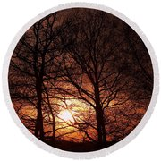 Trees At Sunset Round Beach Towel