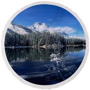 Trees At The Lakeside, Yellowstone Round Beach Towel